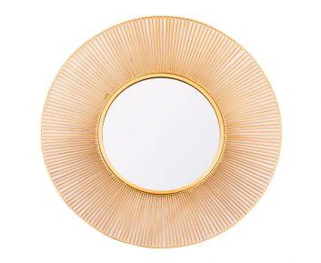 Decorative Wire Wall Mirror in Matt Gold