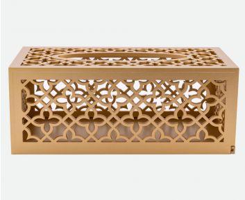 Designer Gold Tissue Box for House Decoration