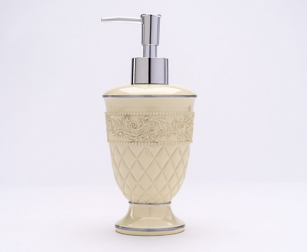 Decorative Soap Dispenser Hand painted in White - Soap dispensers ...