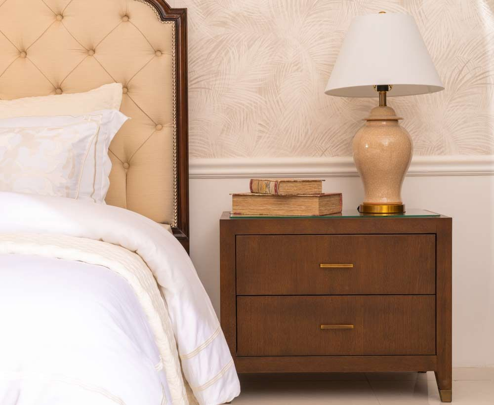 Two drawer night stand in brown for house decoration
