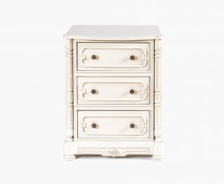 Provencal White Bed Side Table for House Decoration