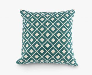 Accent cushion cover blue&off-white