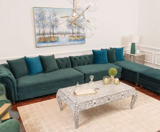 Concreto Armless Sofa in Green to Enhance Home Decor