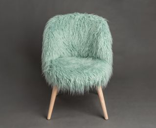 Soft Green Fur Chair for House Decoration