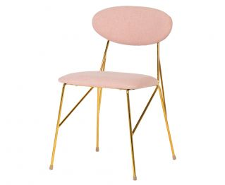 Coco Dining Chair in Pink Gold for House Decoration 45 x 55.6 x 79 cm