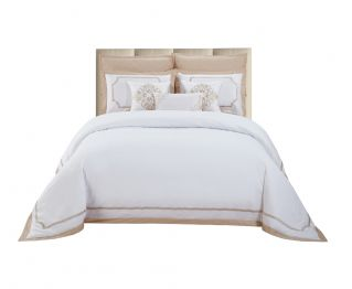 A set of Whiteand Beige color Duvet cover (one) with Three Bedding Accessories for Bedroom Decoration 260 x240 cm