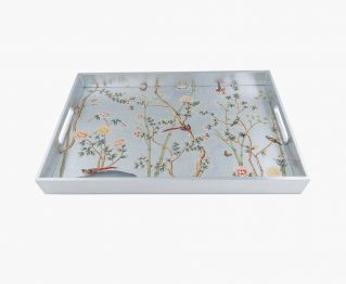 Floral Rectangle Tray Silver