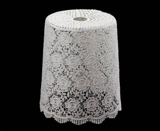 Beautiful Floral Knitted Lamp Shade in White
