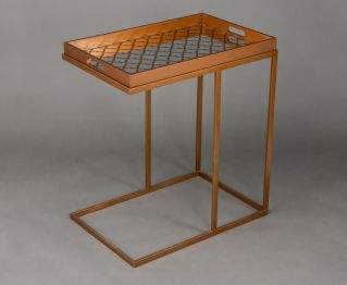 Gold Side Table With Tray for House Decoration
