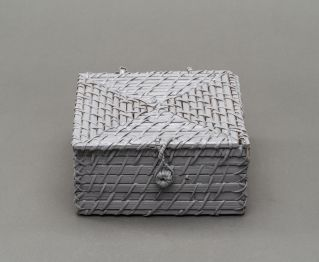 Silver-Coloured Square Box with Lid for Home Decor