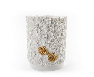 Loree White Gold Waste Bin for House Decoration 20 x 20 x 24.5 cm