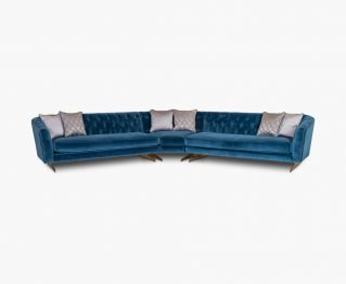 Yves Blue Corner Sofa for House Decoration