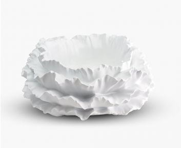 Abstract Flower Pot White