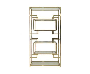 Leuk Book Shelf in Gold for Home Decoration 120x35x230cm