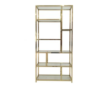 Cully Book Shelf in Gold for Home Decoration 100x35x230cm