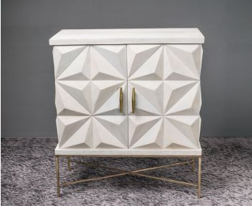 Alexis White Gold Cabinet for Modern Decor