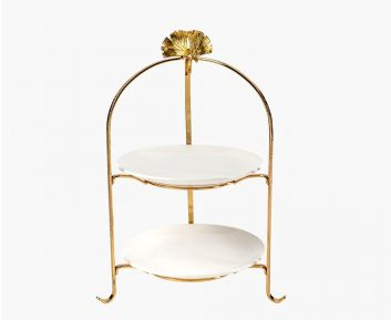 2-Tier White Gold Cake Stand
