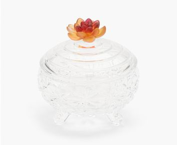 Decorative Clear Glass Candy Jar For Table Setting 18.5x 18.5x 21.0 cm