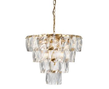 Elegant chandelier in gold/clear for House Decoration 60x60x65cm