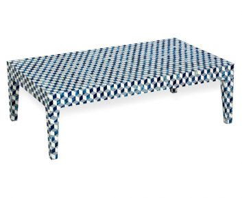 Cael Coffee Table in Blue to Complete Home Furniture