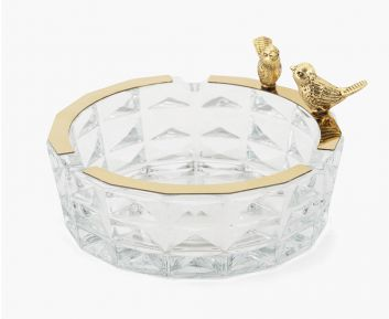 Crystal Glass Ashtray Antique Gold
