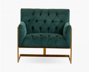 Danish One-Seater sofa in Dark Green for House Decoration