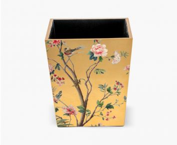 Deluxe waste bin  floral antique gold