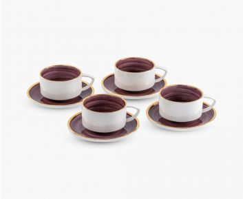 Elie Tea Cup - Saucer maroon set of 4