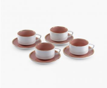 Elie Tea Cup - Saucer pink set of 4