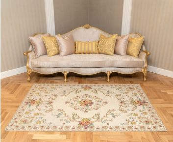 Fiore Carpet in Ivory Colour for Home Decor 155x230 cm
