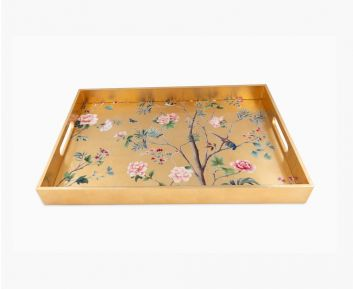 Floral Rectangle Tray Antique Gold