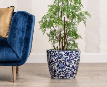 Modish Blue and White Flower Pot for House Decoration