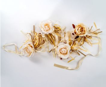 Cream and Beige Rose Garland for House Decoration 12 x 180 cm