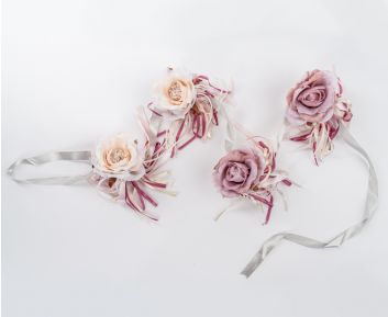 Cream and Pink Rose Garland for House Decoration 12 x 180 cm