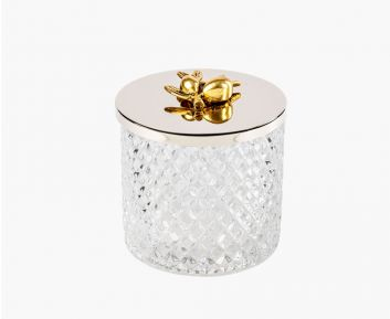 Gold Silver Glass Container with Cover 11x11.8 cm