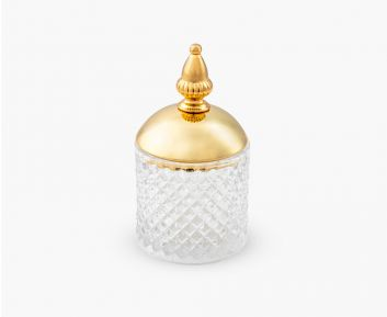 Gold Glass Container 8.6x8.6x15.8 cm