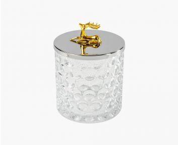 Gold Silver Glass Candy Container