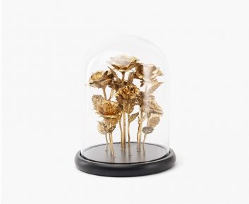 Gold Rose with Glass Cloche