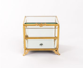 Two-Tier Brass Jewellery Box for House Decoration