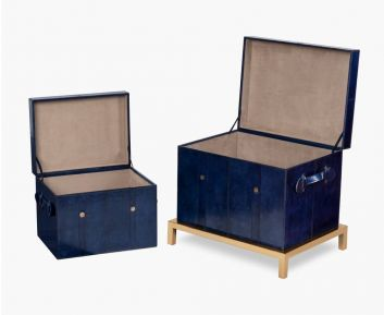 Set of 2 Jules Leather Trunk Box for Home Decor