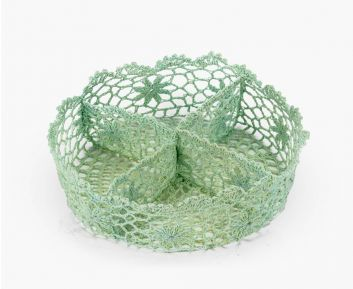 Round Knitted Basket in Blue for Bathroom Decoration
