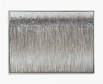 Oil Paint Abstract Silver-Black H183cm