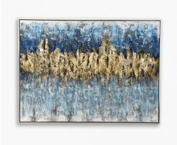 Oil Paint Sand Abstract Blue-Gold