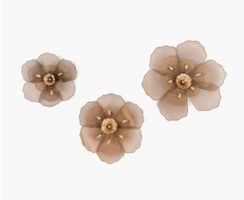 Percy Set of 3 Fleur Wall Decor Rose Gold