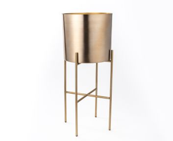 Antique Brass Planter with Stand for House Decoration 23 x 23 x 58 cm