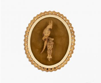 Plaque with bird antique gold-ivory