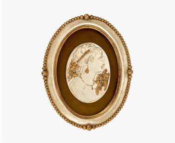 Plaque with lady antique gold-ivory