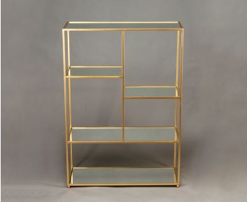 Matt-Gold Elegant Metal Shelf for Home Decor