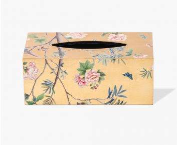Rectangle Floral Tissue box cover Antique gold