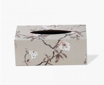 Rectangle Floral Tissue box Cover beige